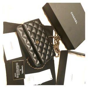 Brand new! Chanel caviar black wallet on chain bag